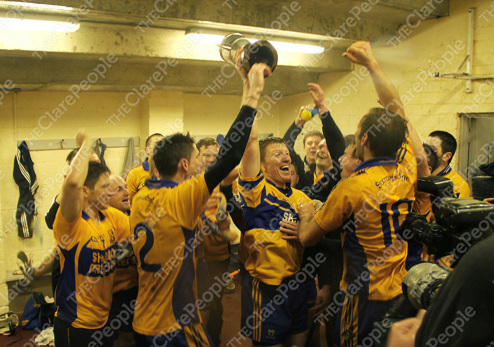 10/11/13  Sixmilebridge's celebrations continue in the dressing room after the Senior Hurling County Finall in Cusack Park. Pic Tony Grehan / Press 22