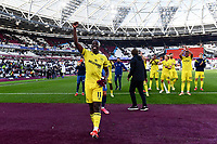 Football - 2021 / 2022  Premier League - West Ham United vs Brentford - The London Stadium - Sunday 3rd October 2021<br /> <br /> Yoane Wissa of Brentford salutes the fans at the end of the game.<br /> <br /> COLORSPORT/Ashley Western