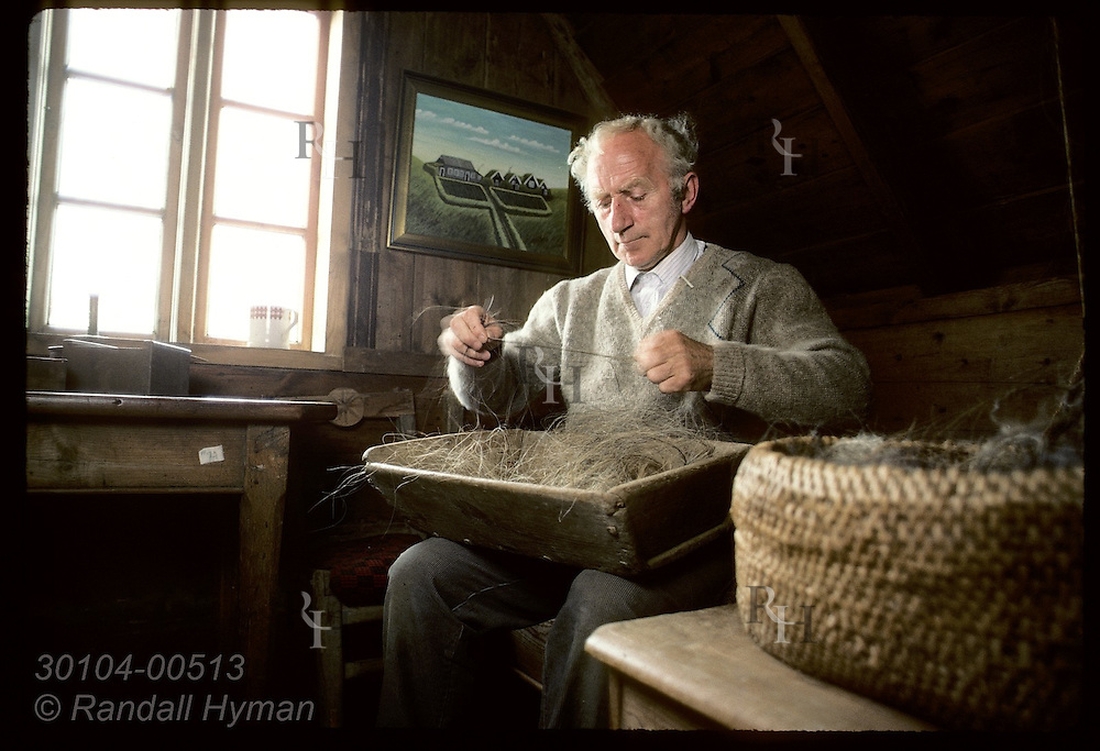 Thord Tomasson, director @ Skogar folk museum, twists horsehair into twine as ancestors once did Iceland