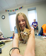 Olivia Purcell, 12, laughs as a kitten plays with her hair as she does yoga in a yoga session with kittens during Pet Refuge's summer camp in South Bend, Ind. Pet Refuge holds a summer camp where children are introduced to various aspects of animal care in South Bend.