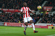 Bruno Martins Indi of Stoke City in action. Premier league match, Stoke City v Manchester City at the Bet365 Stadium in Stoke on Trent, Staffs on Monday 12th March 2018.<br /> pic by Andrew Orchard, Andrew Orchard sports photography.