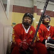 Two Minute Penalty…Zhu Xiaofeng, (left) and Xia Tianxiang, China...Expressions in the penalty box of players serving a two minute penalty during the 2012 IIHF Ice Hockey World Championships Division 3 contested by New Zealand, Iceland, Bulgaria, Turkey and China at Dunedin Ice Stadium. Dunedin, Otago, New Zealand. January 2012. Photo Tim Clayton