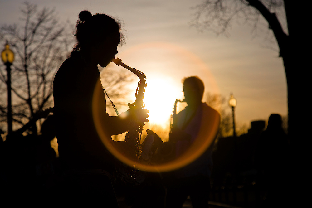 Musicians from Berklee College of Music play for donations for the victims of Japan on Boston Common Friday.  The group colleted more than $7.800 in 7 days.
