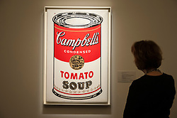 "© Licensed to London News Pictures. 28/01/2016. London, UK.   ""Large Campbell's soup can"" by Andy Warholl (est. £4.5-6.5m), on display at Sotheby's preview of its upcoming Impressionist, Modern & Surrealist art sale on 3 February featuring works by some of the most important artists of the 20th century.  The combined total of the evening sale is expected to exceed £100m. Photo credit : Stephen Chung/LNP"