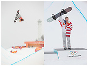 Shaun White celebrates winning the mens Snowboard Halfpipe competition during the Pyeongchang Winter Olympics at Phoenix Snow Park in South Korea.