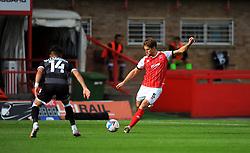 Charlie Raglan of Cheltenham Town crosses the ball- Mandatory by-line: Nizaam Jones/JMP - 10/10/2020 - FOOTBALL - Jonny-Rocks Stadium - Cheltenham, England - Cheltenham Town v Crawley Town - Sky Bet League Two