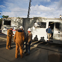 Clean up workers in front of command center, Liberty Park, Salt Lake City
