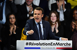 """Former French Economy Minister, founder and president of the political movement """"En Marche !"""" (Underway !) and candidate for the 2017 presidential elections Emmanuel Macron speaks during a campaign rally in Paris, France on December 10, 2016. Photo by Francois Pauletto/ABACAPRESS.COM"""