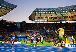 amaica's Usain Bolt wins the men's 200m final race of the 2009 IAAF Athletics World Championships on August 20, 2009 in Berlin. Jamaican Usain Bolt set a new world record of 19.19sec in winning the 200m. (Photo by Vid Ponikvar / Sportida)