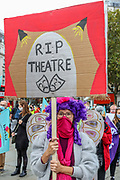 Pantomime dames, creative workers and people excluded from government support during the pandemic, hold placards and marched together towards Parliament Square in Central London on Wednesday, Sept 30, 2020. Participants aimed at highlighting the wider damage the theatre and live events industry are suffering from the coronavirus pandemic outbreak. (VXP Photo/ Vudi Xhymshiti)