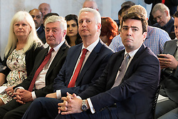 © Licensed to London News Pictures . 09/08/2016 . Salford , UK . L-R TONY LLOYD , IVAN LEWIS and ANDY BURNHAM MP . Andy Burnham is selected as Labour's candidate in the race to be the Mayor of Greater Manchester . He and fellow candidates Ivan Lewis and Tony Lloyd were at an event at The Landing in Media City , Salford , for the declaration . Photo credit : Joel Goodman/LNP