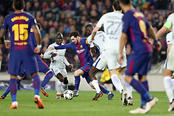 March 14, 2018 - Barcelona, Spain - LIONEL MESSI of FC Barcelona duels for the ball with NGOLO KANTE of Chelsea FC during the UEFA Champions League, round of 16, 2nd leg football match between FC Barcelona and Chelsea FC on March 14, 2018 at Camp Nou stadium in Barcelona, Spain (Credit Image: © Manuel Blondeau via ZUMA Wire)