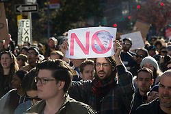 November 12, 2016 - New York, New York, U.S. - Thousands of people rally and march to Trump Tower in protest of president-elect Trump. (Credit Image: © Bryan Smith via ZUMA Wire)