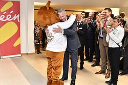 May 3, 2019 - Edegem, Belgium - King Philippe - Filip of Belgium embraces the mascot as he arrives for a royal visit to the Universitair Ziekenhuis Antwerpen (UZA) hospital in Edegem, Friday 03 May 2019. (Credit Image: © Dirk Waem/Belga via ZUMA Press)