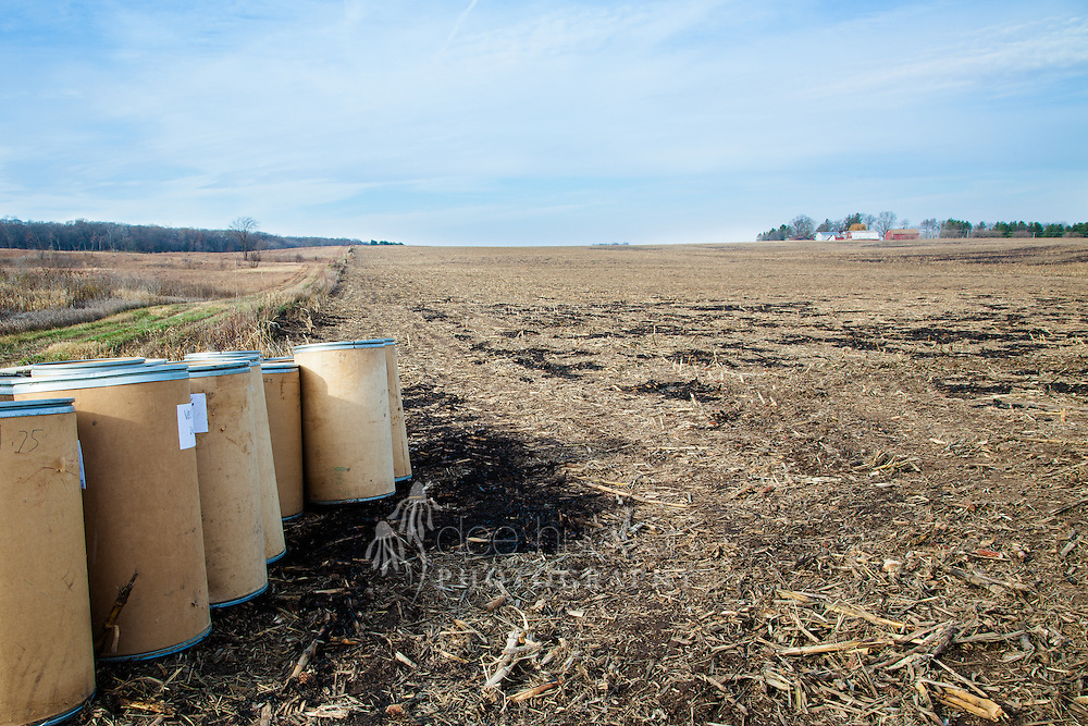 Barrels of prairie seed line this former sixteen acre cornfield and await the restoration planting.