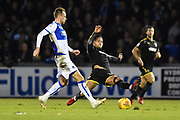 Tom Lockyer (4) of Bristol Rovers is challenged by Harry Forrester (11) of AFC Wimbledon during the EFL Sky Bet League 1 match between Bristol Rovers and AFC Wimbledon at the Memorial Stadium, Bristol, England on 18 November 2017. Photo by Graham Hunt.