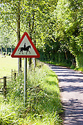 Accompanied horses or ponies warning sign by side of road in Dorset, United Kingdom