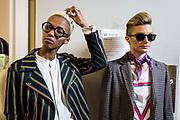 NUE529 - NUEVA YORK(EEUU), 09/9/16.-  Desfile de moda queer DapperQ en el marco del New York Fashion Week, concretamente ubicado en el Brooklyn Museum. Hasta 8 diseñadores y diseñadoras han mostrado sus colecciones en un acto muy reivindicativo a favor de la libertad de género EFE/Edu Bayer