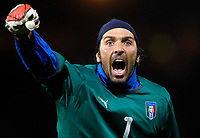 Photo: Jed Wee/Sportsbeat Images.<br /> Scotland v Italy. UEFA European Championships Qualifying. 17/11/2007.<br /> <br /> Italy's Gianluigi Buffon celebrates after their late winner.