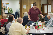 DURANT, OKLAHOMA - MARCH 24:  Sheila Risner visits with locals at the Bryan County Retired Senior Volunteer Program in Durant, Oklahoma on March 24, 2017. (Photo by Cooper Neill for The Washington Post)