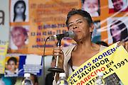 "Mothers from Central America who participate in the caravan ""Liberando la Esperanza"" speak in the International Book Fair in Mexico City on October 28th, 2012.<br /> Pictured: Mercedes Moreno, from el Salvador. (Photo: Prometeo Lucero)"