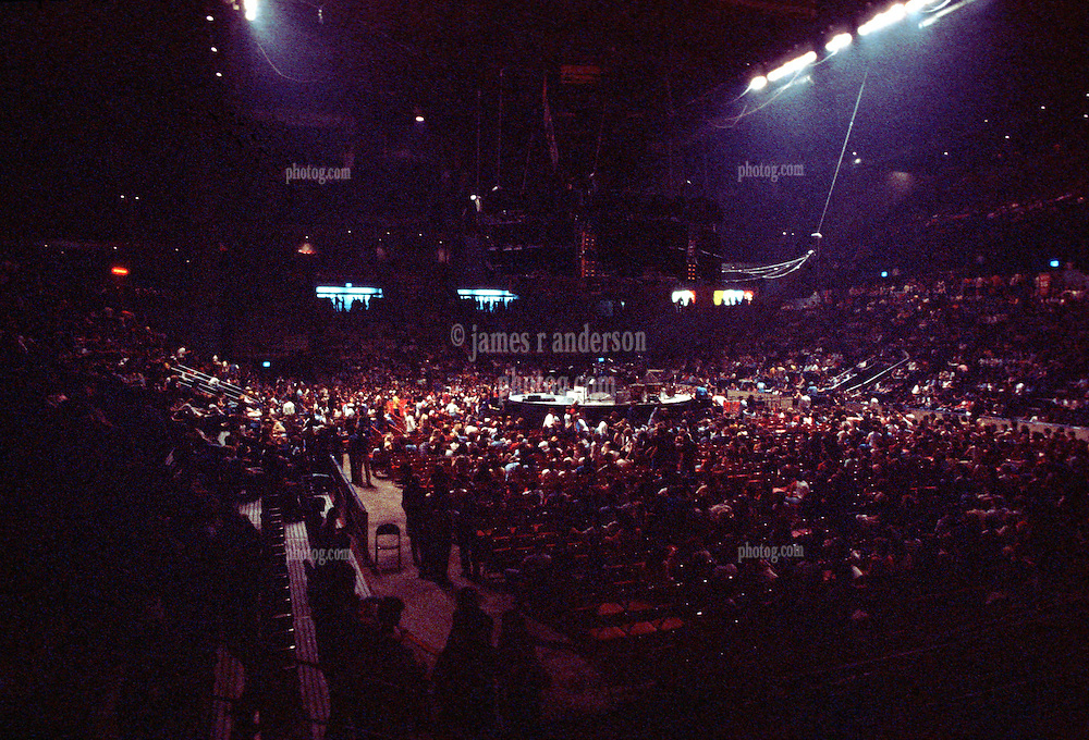 "Yes Band performing ""In The Round"" at the New Haven Coliseum, Connecticut, on 4 September 1978. Wide view of Coliseum Interior before Concert Begins."