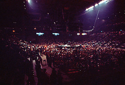 """Yes Band performing """"In The Round"""" at the New Haven Coliseum, Connecticut, on 4 September 1978. Wide view of Coliseum Interior before Concert Begins."""