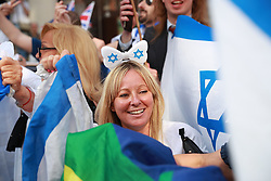 © Licensed to London News Pictures. 10/06/2018. London, UK. A counter demonstration by supporters of Israel blocks the Al Quds march. The annual Al Quds day march in support of the Palestinian cause, in central London. A counter demonstration by far-right and Zionest groups also takes place. Photo credit: Joel Goodman/LNP