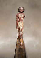 Ancient Egyptian wooden statue,  Middle Kingdom (1980-1700 BC), tomb of Shimes, Asyut. Egyptian Museum, Turin. .<br /> <br /> If you prefer to buy from our ALAMY PHOTO LIBRARY  Collection visit : https://www.alamy.com/portfolio/paul-williams-funkystock/ancient-egyptian-art-artefacts.html  . Type -   Turin   - into the LOWER SEARCH WITHIN GALLERY box. Refine search by adding background colour, subject etc<br /> <br /> Visit our ANCIENT WORLD PHOTO COLLECTIONS for more photos to download or buy as wall art prints https://funkystock.photoshelter.com/gallery-collection/Ancient-World-Art-Antiquities-Historic-Sites-Pictures-Images-of/C00006u26yqSkDOM