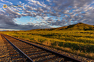 The Central Montana Railroad Tracks in morning light near Square Butte, Montana, USA