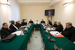 File photo - Cardinal George Pell (1st on the right) with Pope Francis and the members of the C9 at the Vatican on Feb.13, 2017. The C9 helps the pope reform the Vatican's troubled administration, the Curia, and map out possible changes in the worldwide Church. Archbishop of Sydney he was created a cardinal in 2003. Cardinal George Pell has been found guilty of sexual offences in Australia, making him the highest-ranking Catholic figure to receive such a conviction. Pell abused two choir boys in the rooms of a Melbourne cathedral in 1996, a jury found. He had pleaded not guilty. The verdict was handed down in December, but it could not be reported until now due to legal reasons. Pell is due to face sentencing hearings from Wednesday. He has lodged an appeal against his conviction. Photo by Eric Vandeville/ABACAPRESS.COM