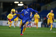 Bruno Ecuele Manga of Cardiff city in action. EFL Skybet championship match, Cardiff city v Preston North End at the Cardiff city stadium in Cardiff, South Wales on Friday 29th December 2017.<br /> pic by Andrew Orchard, Andrew Orchard sports photography.