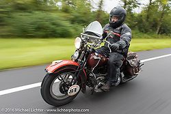 Matt Olsen on a 1936 Harley-Davidson Knucklead during Stage 2 of the Motorcycle Cannonball Cross-Country Endurance Run, which on this day ran from Lake City, FL to Columbus, GA., USA. Saturday, September 6, 2014.  Photography ©2014 Michael Lichter.