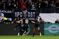 Eintracht Frankfurt's Luka Jovic (left) celebrates scoring his side's first goal of the game with his team mates during the UEFA Europa League Semi final, first leg match at The Frankfurt Stadion, Frankfurt.