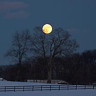 Hamptonburgh, New York - The full moon rises over over Cameo Hills Farm on Dec. 16. 2013.
