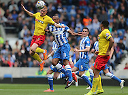 Ben Watson and Chris O'Grady during the Sky Bet Championship match between Brighton and Hove Albion and Watford at the American Express Community Stadium, Brighton and Hove, England on 25 April 2015.