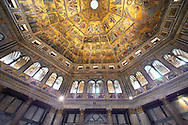 The interior of the Bapistry of Florence  Duomo ( Battistero di San Giovanni ) with the medieval ceiling mosaics. Florence Italy.<br /> <br /> If you prefer you can also buy from our ALAMY PHOTO LIBRARY  Collection visit : https://www.alamy.com/portfolio/paul-williams-funkystock/romanesque-art-antiquities.html . Type -   Florence Baptistry  - into the LOWER SEARCH WITHIN GALLERY box. Refine search by adding background colour, place, museum etc<br /> <br />  Visit our MEDIEVAL ROMANESQUE PHOTO COLLECTIONS for more   photos  to download or buy as prints https://funkystock.photoshelter.com/gallery-collection/Medieval-Romanesque-Art-Antiquities-Historic-Sites-Pictures-Images-of/C0000uYGQT94tY_Y .<br /> <br /> Visit our ITALY PHOTO COLLECTION for more   photos of Italy to download or buy as prints https://funkystock.photoshelter.com/gallery-collection/2b-Pictures-Images-of-Italy-Photos-of-Italian-Historic-Landmark-Sites/C0000qxA2zGFjd_k<br /> .<br /> <br /> Visit our MEDIEVAL PHOTO COLLECTIONS for more   photos  to download or buy as prints https://funkystock.photoshelter.com/gallery-collection/Medieval-Middle-Ages-Historic-Places-Arcaeological-Sites-Pictures-Images-of/C0000B5ZA54_WD0s