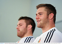 24 June 2013; Dan Lydiate and Sean O'Brien, left, British & Irish Lions, during a press conference ahead of their match against Melbourne Rebels on Tuesday. British & Irish Lions Tour 2013, Press Conference. AAMI Park, Olympic Boulevard, Melbourne, Australia. Picture credit: Stephen McCarthy / SPORTSFILE