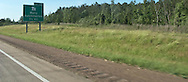 highway sign at Natchitoches, Louisiana on Interstate 49 panorama