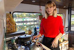 Mail Online: Couple Kim Marren, 31, a model, who with her partner Maarten Ketels, an actor, together with their one-year-old daughter Willow, live on their barge Sunshine, which started out as an empty shell and is now a small but comfortable home currently moored on the Lea Navigation in East London. North Hackney, London, November 02 2018.