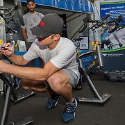 August 21, 2014, New Haven, CT:<br /> Andy Roddick autographs a spin bike for Yale New Haven Health during the Men's Legends Event on day seven of the 2014 Connecticut Open at the Yale University Tennis Center in New Haven, Connecticut Thursday, August 21, 2014.<br /> (Photo by Billie Weiss/Connecticut Open)