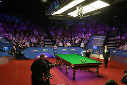 Mark Williams at the table during day seventeen of the 2018 Betfred World Championship at The Crucible, Sheffield. PRESS ASSOCIATION Photo. Picture date: Monday May 7, 2018. See PA story SNOOKER World. Photo credit should read: Richard Sellers/PA Wire