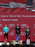 Alpint<br /> FIS World Championships / VM 2015<br /> Vail USA<br /> 08.02.2015<br /> Foto: Gepa/Digitalsport<br /> NORWAY ONLY<br /> <br /> FIS Alpine World Ski Championships, Solaris Championships Plaza, award ceremony Alpine combined, men. Image shows Kjetil Jansrud (NOR), Marcel Hirscher (AUT) and Ted Ligety (USA).