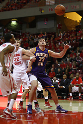 05 January 2013: Jon Ekey and Austin Pehl get tangled  during an NCAA Missouri Valley Conference (MVC) mens basketball game between the Northern Iowa Panthers and the Illinois State Redbirds in Redbird Arena, Normal IL