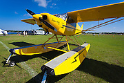 Super Cub 160 on floats at Fantasy of Flight's Lake Agnes during Sun 'n Fun 2011 in Polk City, Florida.