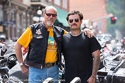 Master of the Bikernet Universe, Keith Ball with grandson Franky Ball on Main Street in Deadwood during the annual Sturgis Black Hills Motorcycle Rally. Deadwood, SD, USA. Monday August 7, 2017.  Photography ©2017 Michael Lichter.