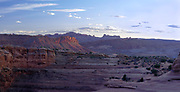 Sunset view of Arches National Park, looking to the southwest .   Moab, Utah, USA.