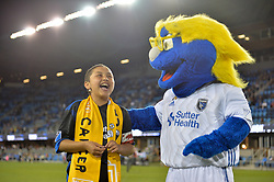 September 19, 2018 - San Jose, California, United States - San Jose, CA - Wednesday September 19, 2018: Q, mascot prior to a Major League Soccer (MLS) match between the San Jose Earthquakes and Atlanta United FC at Avaya Stadium. (Credit Image: © John Todd/ISIPhotos via ZUMA Wire)