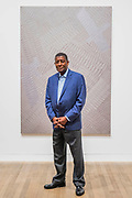 William T Williams with his work Nu Nile 1973 - Soul of a Nation: Art in the Age of Black Power, Tate Modern's new exhibition exploring what it meant to be a Black artist during the Civil Rights movement.  The exhibition is at Tate Modern from 12 July – 22 October 2017.