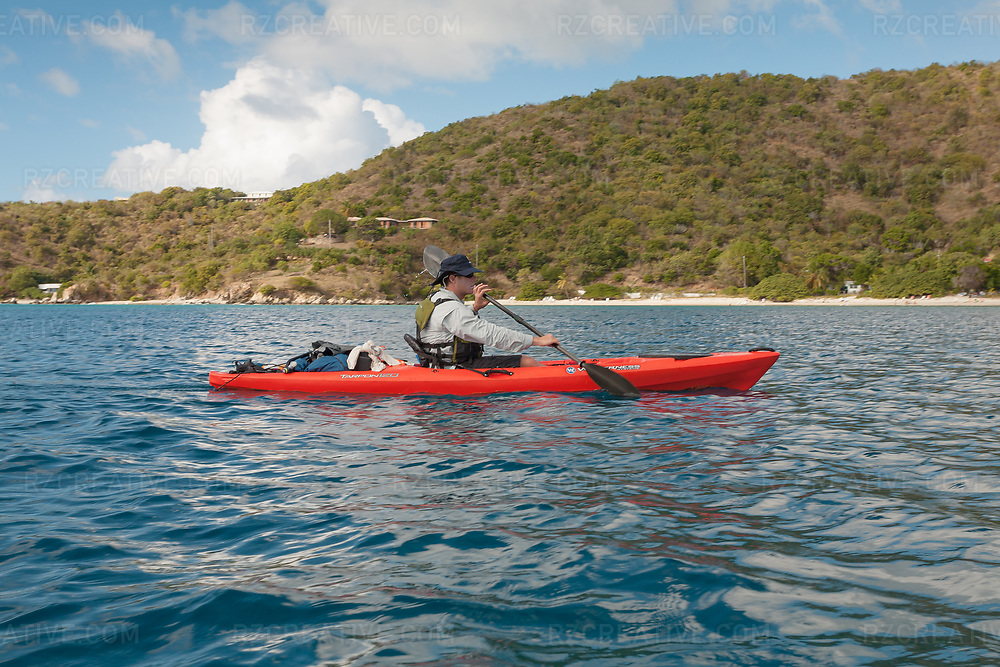 Mark Anders kayaking around the island of St. John, USVI. Photo © Robert Zaleski / rzcreative.com<br /> —<br /> To license this image for editorial or commercial use, please contact Robert@rzcreative.com